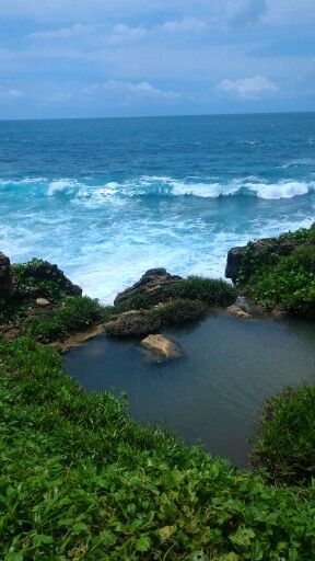 banyu tibo beach from above the cliff, pacitan, east java