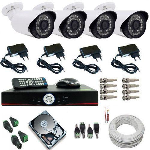 Foto 1 - Kit Sistema de Monitoramento Completo 04 Câmeras Infra 1400 linhas + DVR Multi HD 5 em 1