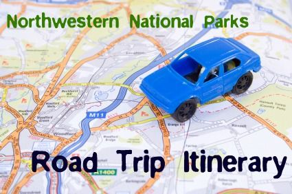 Road trip itinerary for a tour of Glacier, Yellowstone, Grand Teton, and Zion National Parks, with stops in Spokane, Portland, Park City, Las Vegas, Laguna Beach, and Sacramento.