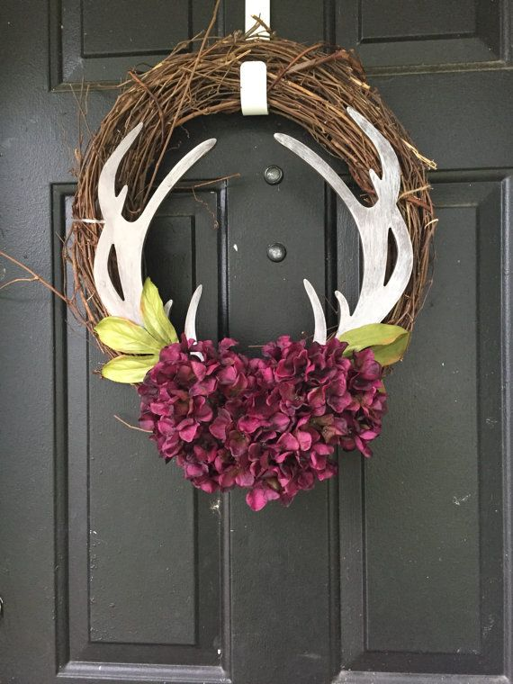 Year round country wreath  deer antler by Wreathsbyrachaelfl