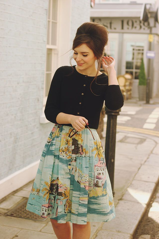 "Retro-style sundress (Nancy is the name of the dress) & sweater from British store named ""Boden"" ( worn by Blogger Olivia)"
