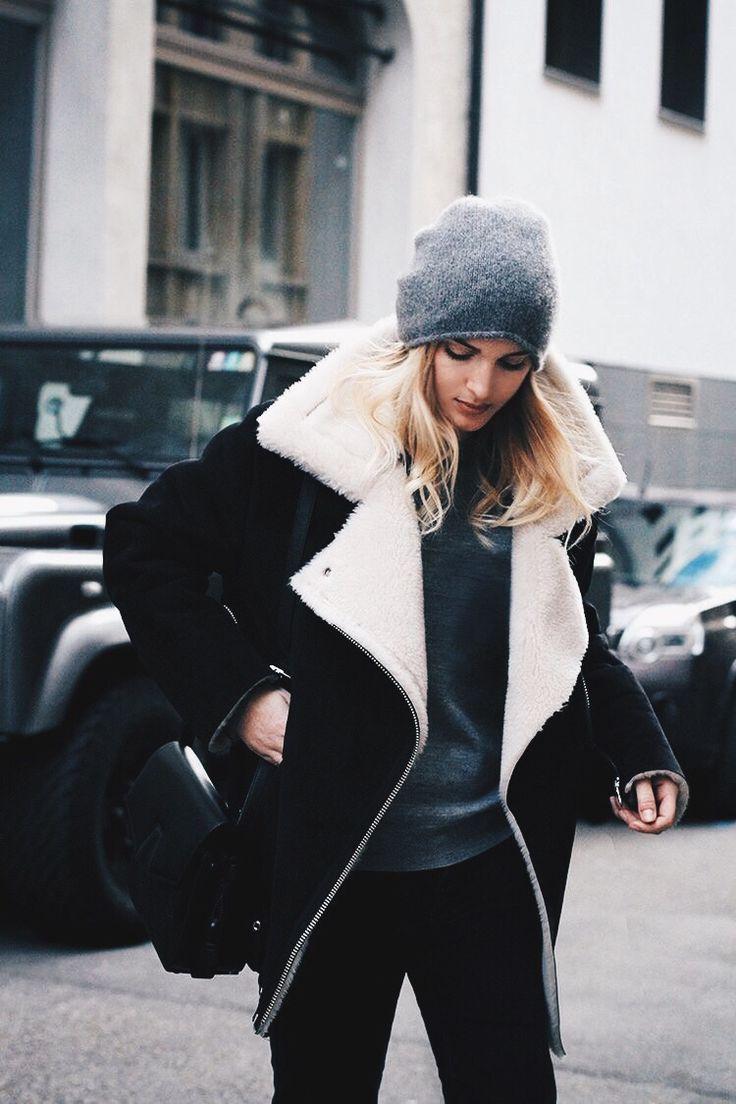 Mixed Media Shearling Jacket - winter style