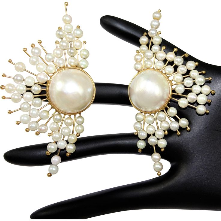 Vintage 14K Cultured Pearl and MABE Pearl Earrings at The Vintage Carousel Exclusively on Ruby Lane