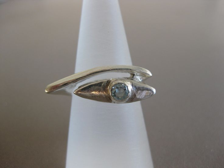 silver ring with aqua