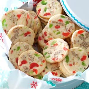 Cherry Christmas Slices Recipe -Brilliant red and green candied cherries add extra sparkle to these delicious holiday delights. What I really like best is that this recipe's easy to mix up ahead of time. In fact, I've often made the dough in November and kept it in the freezer until I needed it in December! —Katie Koziolek, Hartland, Minnesota