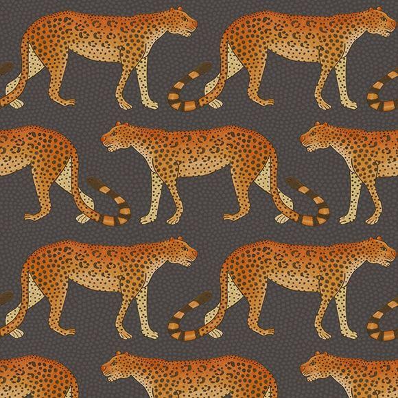 Papier peint Leopard Walk de The Ardmore Collection de Cole and Son.  Ce papier peint très graphique et animalier a beaucoup de style.