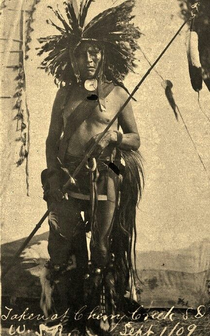 Member of the Miwa'tani Warrior Society at Cherry Creek, South Dakota - Mniconjou - 1909 [Their social organization includes warrior societies which were divided by age group; you had to pay to become a member of a society. http://www.universalis.fr/encyclopedie/mandan/ ]