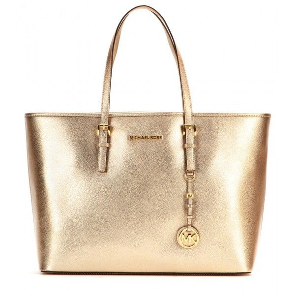 Michael Kors Medium Jet Set Travel Metallic Leather Tote Found On Polyvore