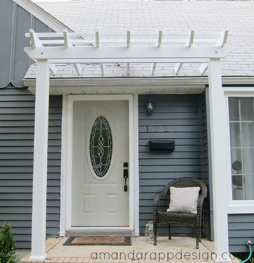 Bungalow pergola above front door slate blue charcoal for Small exterior doors