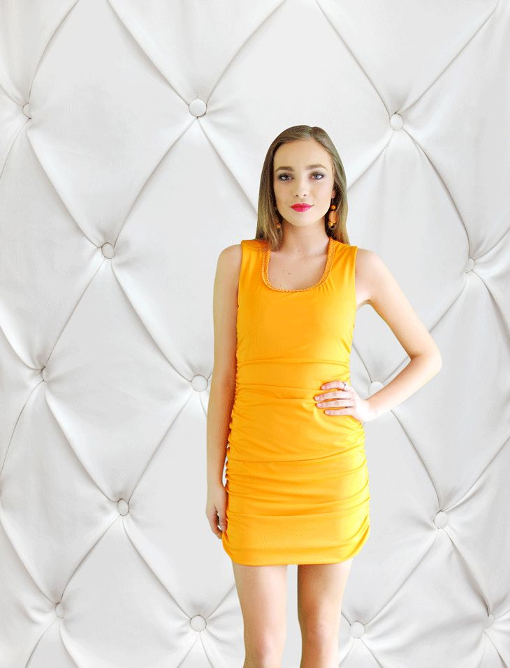 The Tangerine Ruched Dress