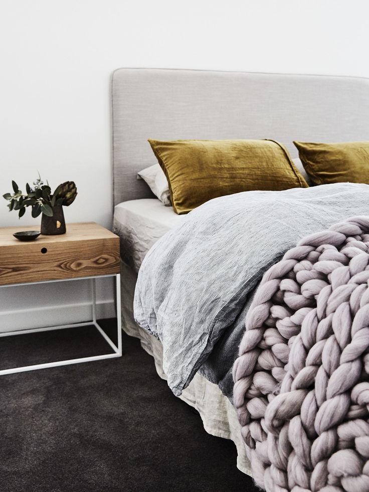 velvet moss green pillows • lavender giant knot throw blanket • mcm bedside tables • bedroom