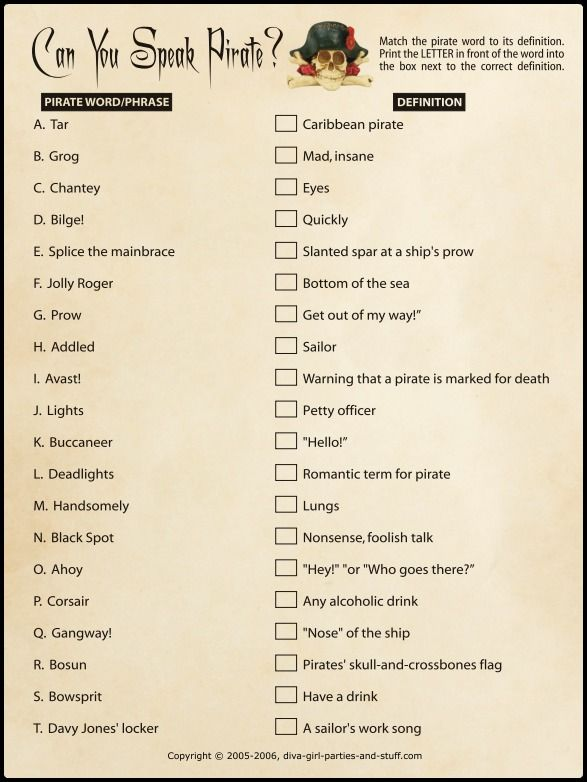 Printable pirate party game for pirate parties and International Talk Like a Pirate Day. Can You Speak Pirate? Match the pirate words and phrases with their correct definitions.