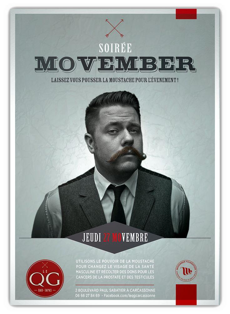 Affiche Soirée #Movember #Movemberfoundation - Graphiste : Thibault Bégout