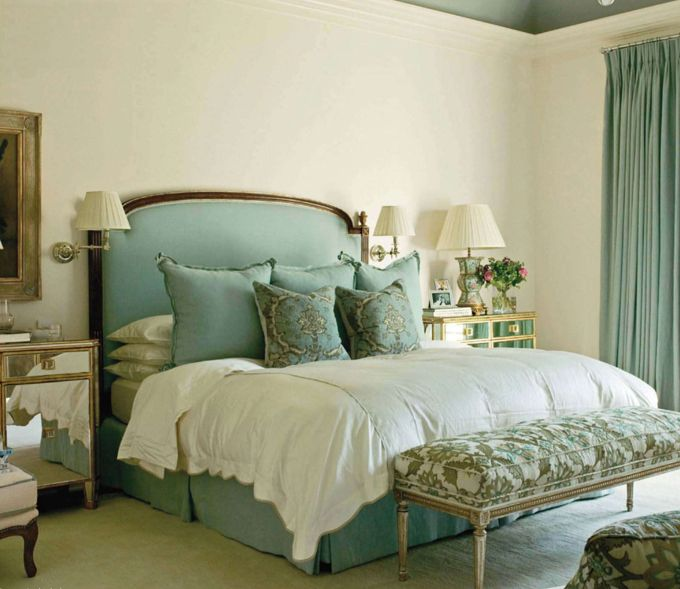 Master bedroom in a Greenwich, Connecticut home ~ designer Suzanne Kasler & photographer Thibault Jeanson for Veranda, Jan, 2010.  The Nancy Corzine bench is covered in Cowtan & Tout fabric.