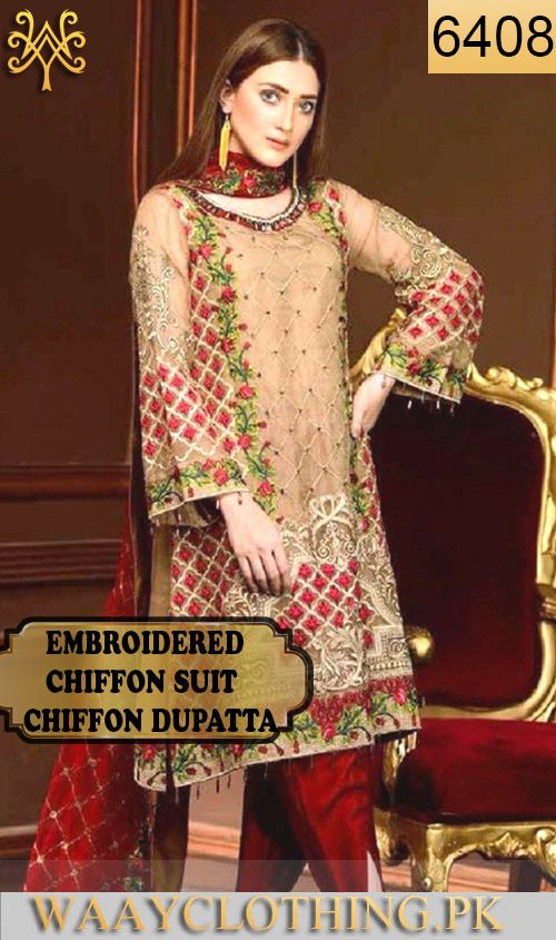 ab825c0ab5 WYYH-6408 - FULL EMBROIDERED DESIGNER 3PC CHIFFON SUIT WITH CHIFFON DUPATTA  - PARTY WEAR DRESS 2019 - 2020 Call/WhatsApp: 03-111-222-162