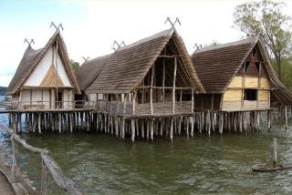 The Prehistoric Pile Dwellings around the Alps are the remains of prehistoric stilt houses at the edges of lakes and rivers. The site consists of 111 locations, spread out over 6 countries. They date from 5,000 to 500 BC, and represent the life of early agrarian communities in Europe.