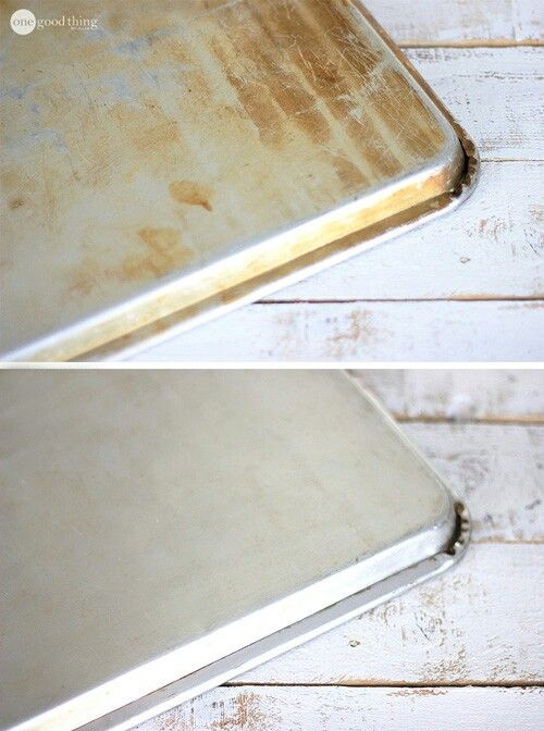 Clean grimy pans with baking soda, hydrogen peroxide and then another layer of baking soda. Let soak and wipe clean!