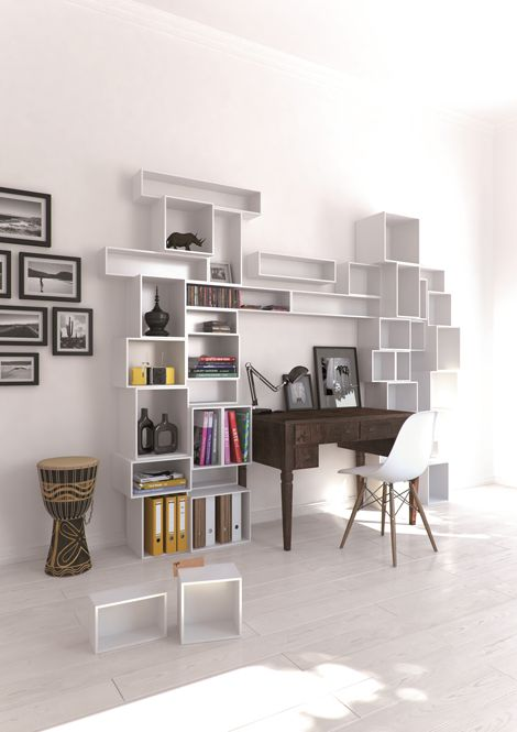 Modular Shelving System. I can picture this around my new vanity, so many options for arranging everything