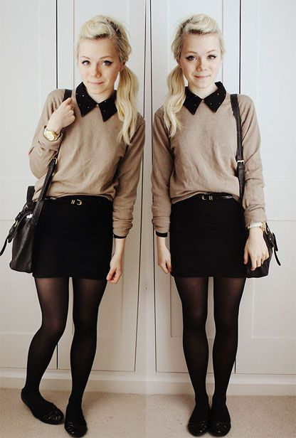 great fall outfit! sweater over collared shirt, shorts/skirt with tights, and flats is perfect for cool fall days