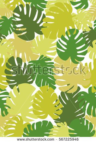 Monstera seamless background. The theme of summer and nature. Tropical, exotic pattern. Different shades of green color Seamless Pattern, typographic design A4 Vector illustration