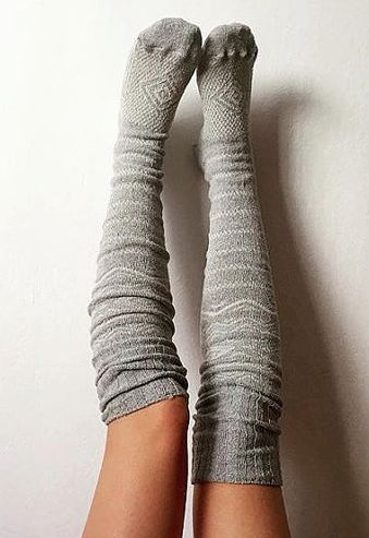 Grey Thigh High Socks Scandinavian Pattern