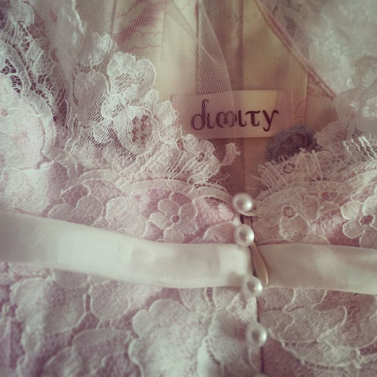 Linda's #Dimity #EcoBride gown of nude sateen and Chantilly lace, with illusion bodice and pleated tulle flared skirt. www.dimity.co.za