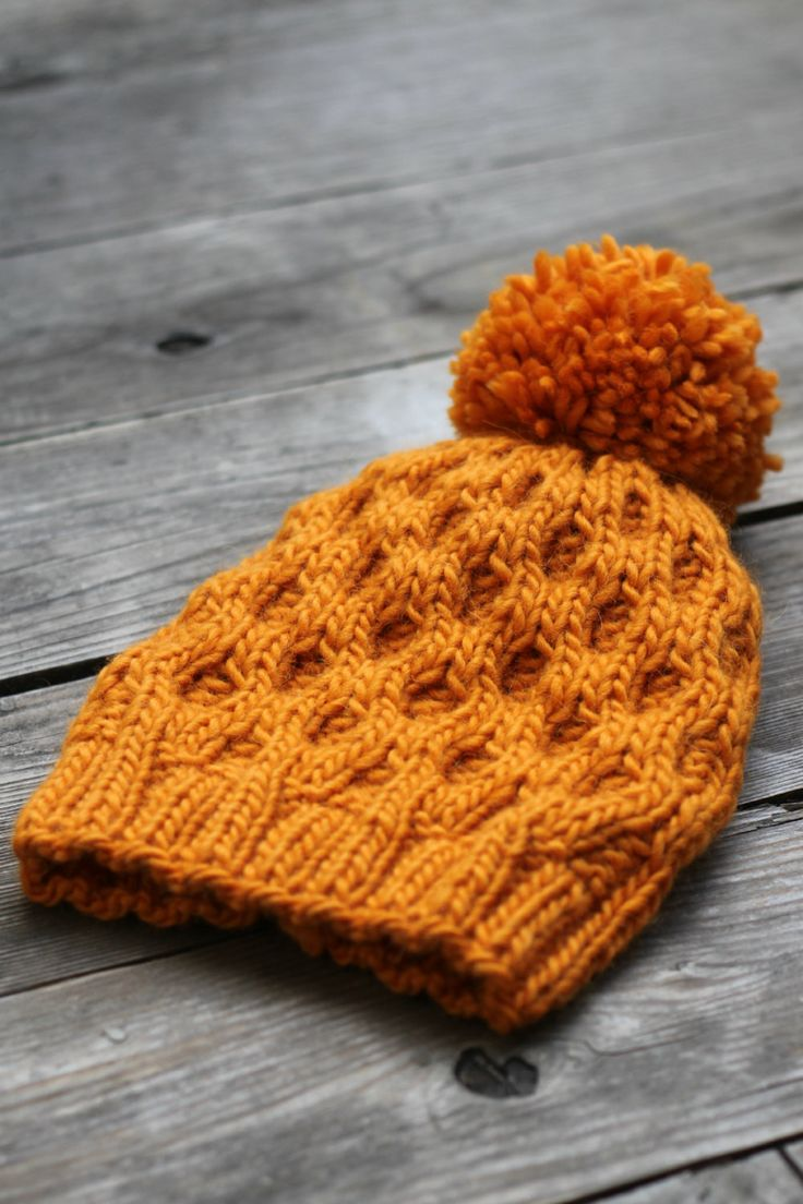 Knit hat pattern honeycomb hat winter PDF                                                                                                                                                                                 More