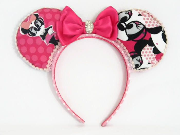Nerd Minnie Mouse Ears Headband Hot Pink Polka Dot Fabric Pink Satin Bow on Matching Wrapped Headband Minnie w/ Glasses Hipster Disney World by HouseofHairDecor on Etsy