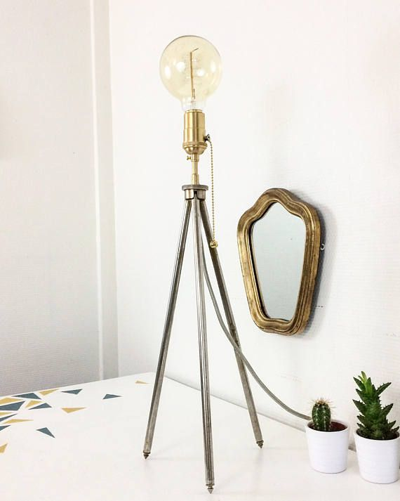 Idea Lamp Lampe Trepied Photographique Lampe Scandinave Industriel Steampunk Laiton Vintage Retro Upcycling Decoration Loft
