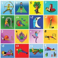 Print kaarten met diverse yogahoudingen uit en maak losse kaartjes. Lamineer de de kaarten  en speel Yogabingo als het regent in de pauze