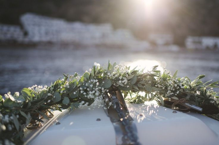 Wedding in Cretan paradise | Crete for Love. Olive garland for the boat.