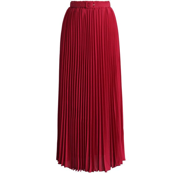 Chicwish Belted Pleated Chiffon Maxi Skirt in Ruby (€32) ❤ liked on Polyvore featuring skirts, saias, long skirts, red, belted maxi skirts, red skirt, long pleated chiffon skirt and elastic waist skirt