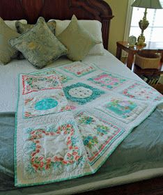 How to make a vintage hanky quilt.  We could do this with family heirlooms like wedding hankies.
