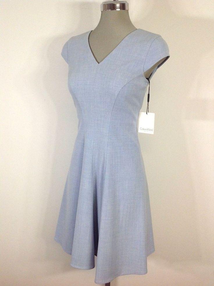 Calvin Klein Elegant NWT Elegant Light Blue Dress Flare V Neck Cap Sleeve Petite | Clothing, Shoes & Accessories, Women's Clothing, Dresses | eBay!