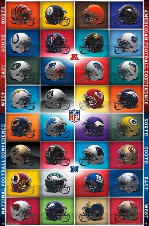Oem нфл логотипы спорт футбол конференция стены обои наклейки настенная искусство главная печать индивидуальные симпатичные ретро плакат декора подарки