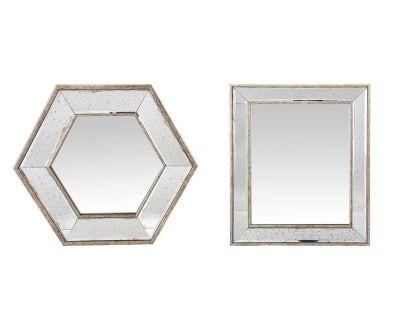 2 Miroirs YONG - argenté vieilli