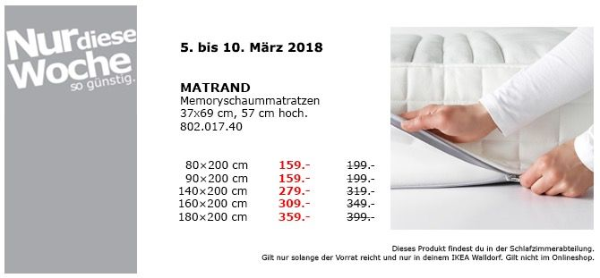 Ikea Matrand Memoryschaummatratze 90x200 Cm Ikea Kuche Und Haushalt Und Matratze