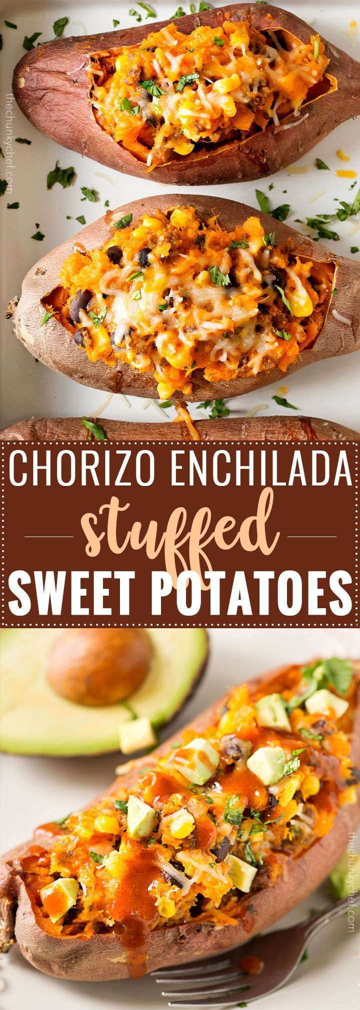 Chorizo Enchilada Stuffed Sweet Potatoes | Mexican flavors come together in these stuffed sweet potatoes, for a meal that's healthy and incredibly easy to prep ahead for a stress-free dinner! | http://thechunkychef.com