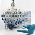 Заводской магазин роскошь большие современные хрустальные люстры изысканный итальянский синий и ясно K9 овальный кулон висит свет