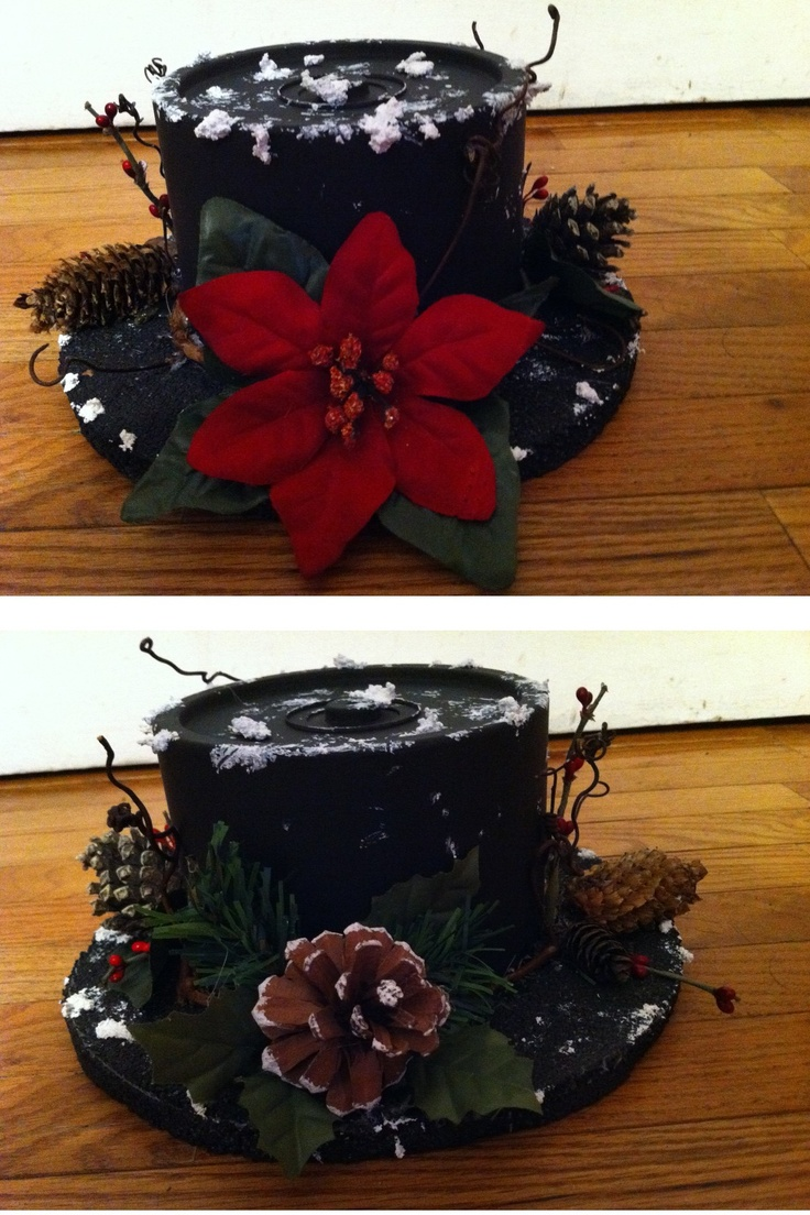 Snowman Hat decoration  Made from a cd/dvd case  round styrofoam circle then embellished with grapevine rim, poinsetta and pinecones