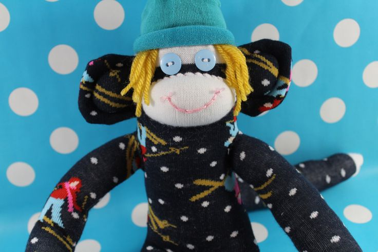 Sock Monkey / Ski Bum / Dark Blue, Yellow, Turquoise, White, Red, Pink / Ski Decor / Skier Gift / Unique / Gifts for Him / Gifts for Her by TheMonkeyTrunk on Etsy https://www.etsy.com/uk/listing/255125903/sock-monkey-ski-bum-dark-blue-yellow