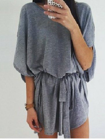 Casual Round Collar Gray Half Sleeve Dress For Women