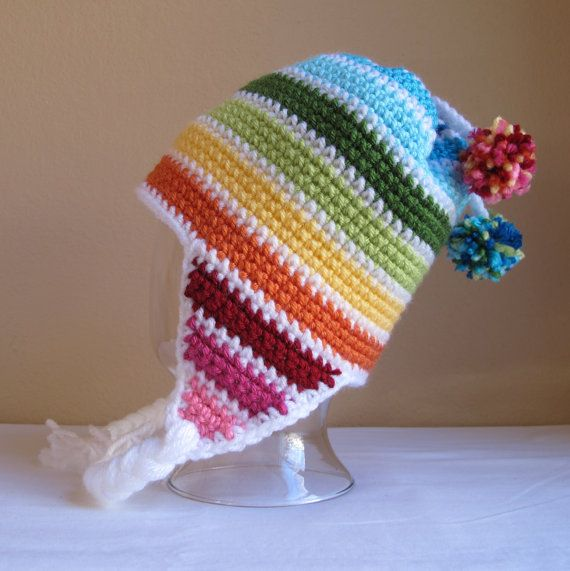 PATTERN - Snow Day - A striped earflap hat in 8 sizes (Infant - Adult L)