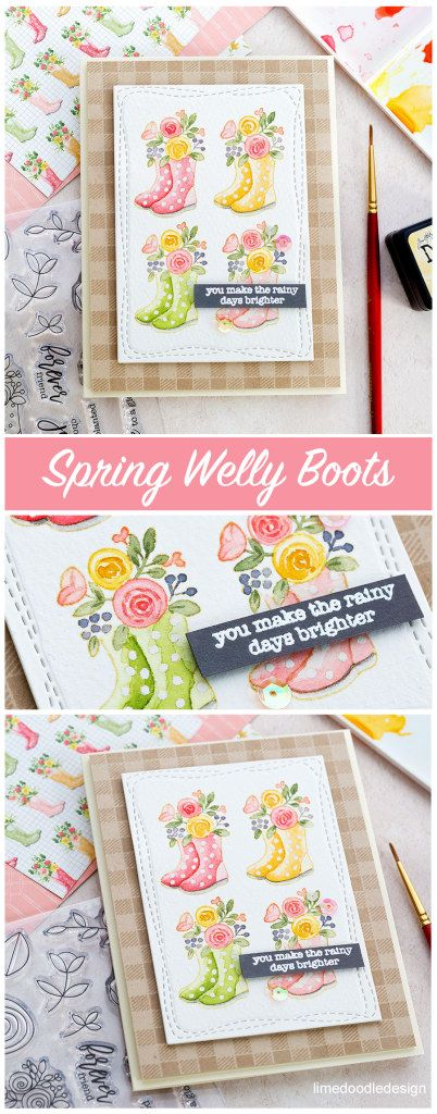 Watercoloured spring welly boot handmade card by Debby Hughes. Spring is in the air with the new Simon Says Stamp March Card Kit! Find out more here: http://limedoodledesign.com/2018/02/spring-welly-boots-simon-says-stamp-march-card-kit/ #sssfave