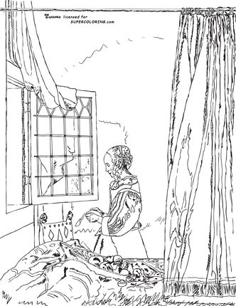 a girl reading a letter by an open window by johannes vermeer coloring page - Abbi Jacobson Coloring Book