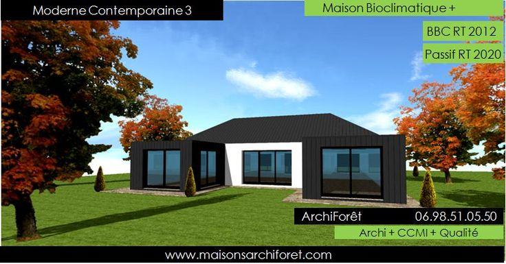 Moderne Contemporaine 3 Photo Maison Contemporaine plan en U maison avec patio central toiture 4 pentes et bardage zinc