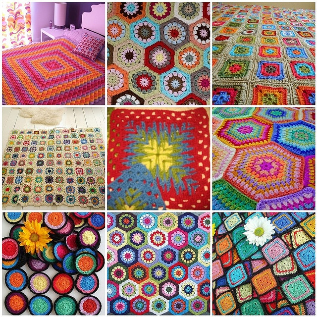 Colorful Crochet Afghans by All Things Bright, via Flickr: Colors Crochet, Crochet Afghans, Afghans Patterns, Afghans Squares, Blankets Quilts Afghans, Crochet Free Patterns, Things Bright, Crochet Patterns, Bright Colors