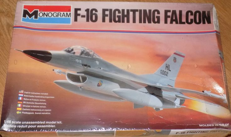 Complete, Sealed 1980 Monogram Model Kit of F-16 Fighting Falcon Plane 1/48 Scale by XtraThings on Etsy