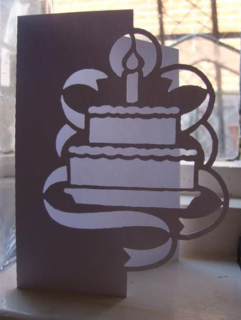 BIRTHDAY CAKE OVER THE EDGE CARD SVG On Craftsuprint