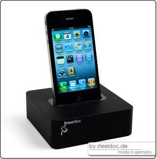 steeldoc black   Design Dockingstation für Apple iPhone und iPod made in Germany